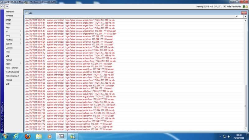 Clique na imagem para uma versão maior  Nome:         ataque mikrotik ssh.jpg Visualizações:818 Tamanho: 57,0 KB ID:      24029
