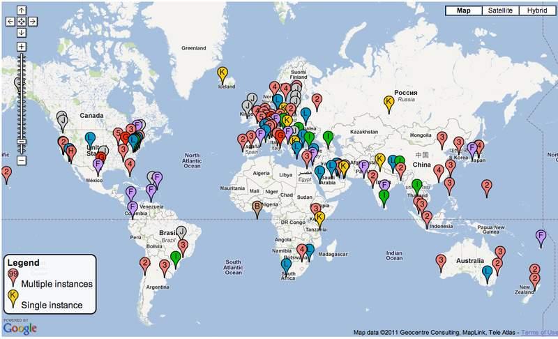 Mapa da distribuição dos root servers pelo mundo