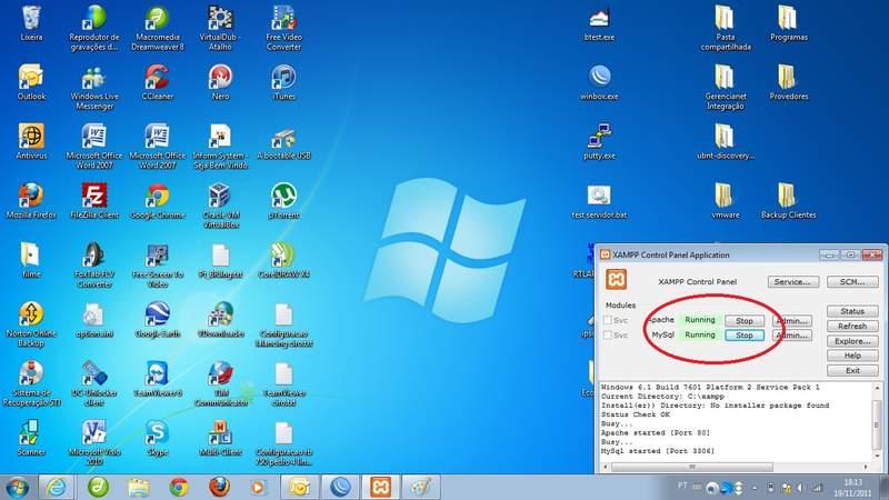 Clique na imagem para uma versão maior  Nome:         xampp control panel aplication rodando.jpg Visualizações:1095 Tamanho: 46,8 KB ID:      30736