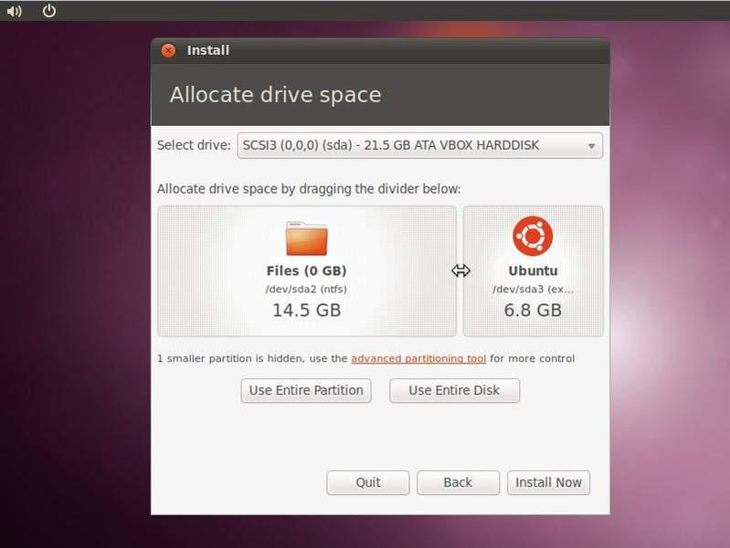 Clique na imagem para uma versão maior  Nome:         Ubuntu_10.10_dual_boot_disk_space.jpg Visualizações:42 Tamanho: 34,5 KB ID:      35914
