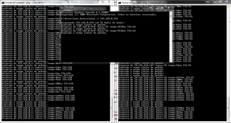 Janela esquerda - Ping para 192.168.0.1 ip interno do meu servidor de DNS, Janela ao Centro Ping do meu Link, Janela da Direita - Ping do site da google.com