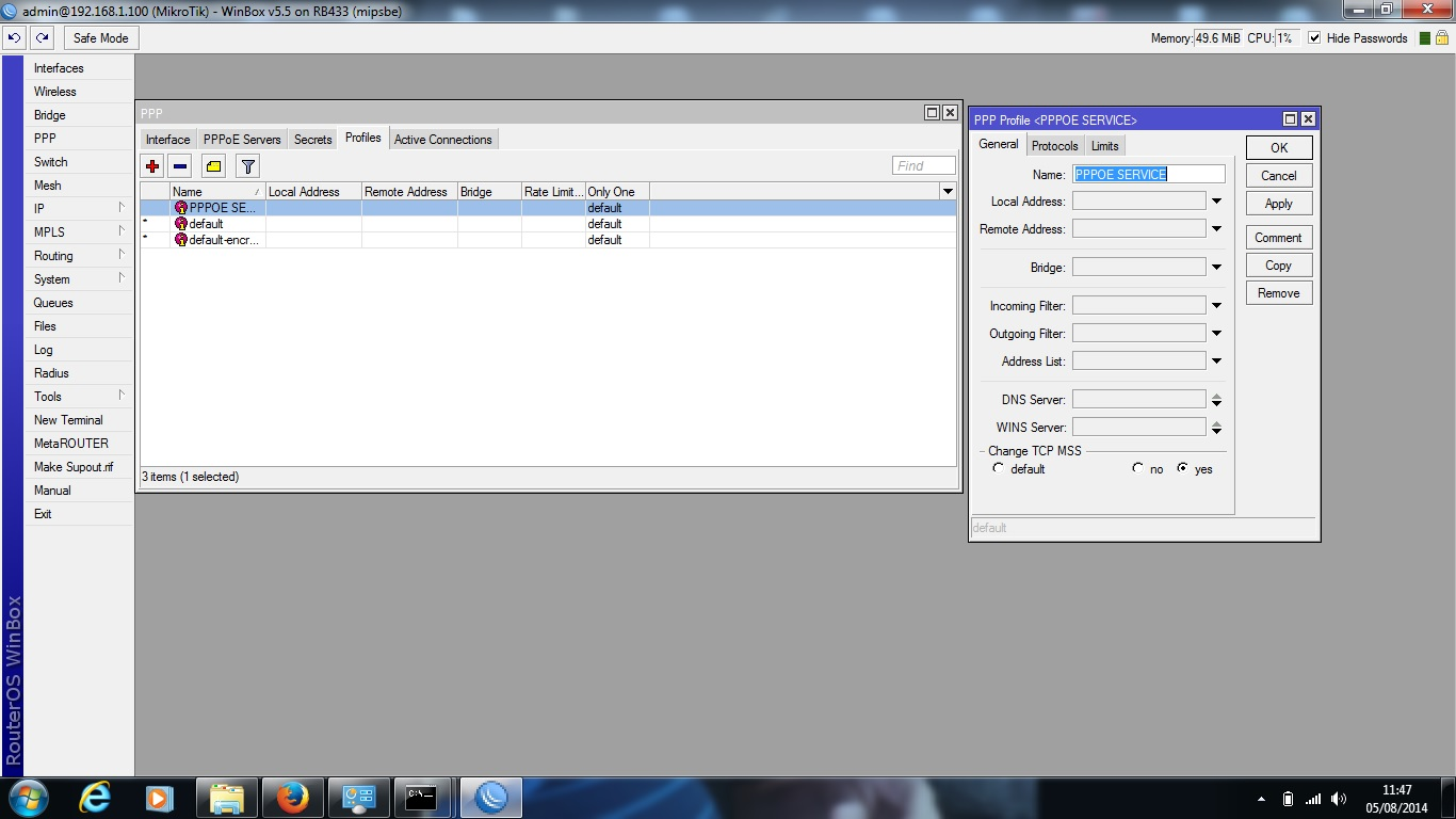 Clique na imagem para uma versão maior  Nome:         pppoe profile.jpg Visualizações:65 Tamanho: 157,7 KB ID:      53635