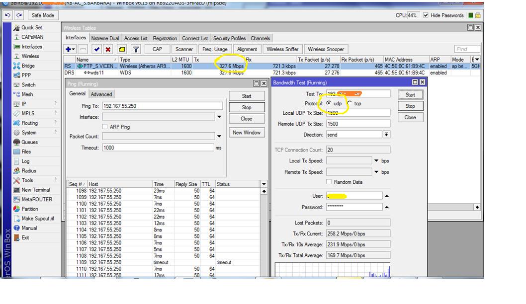 Clique na imagem para uma versão maior  Nome:         RB922UAGS - teste UDP.png Visualizações:304 Tamanho: 281,0 KB ID:      56005