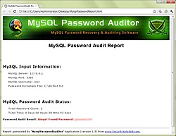 MySQL Password Auditor 3.0