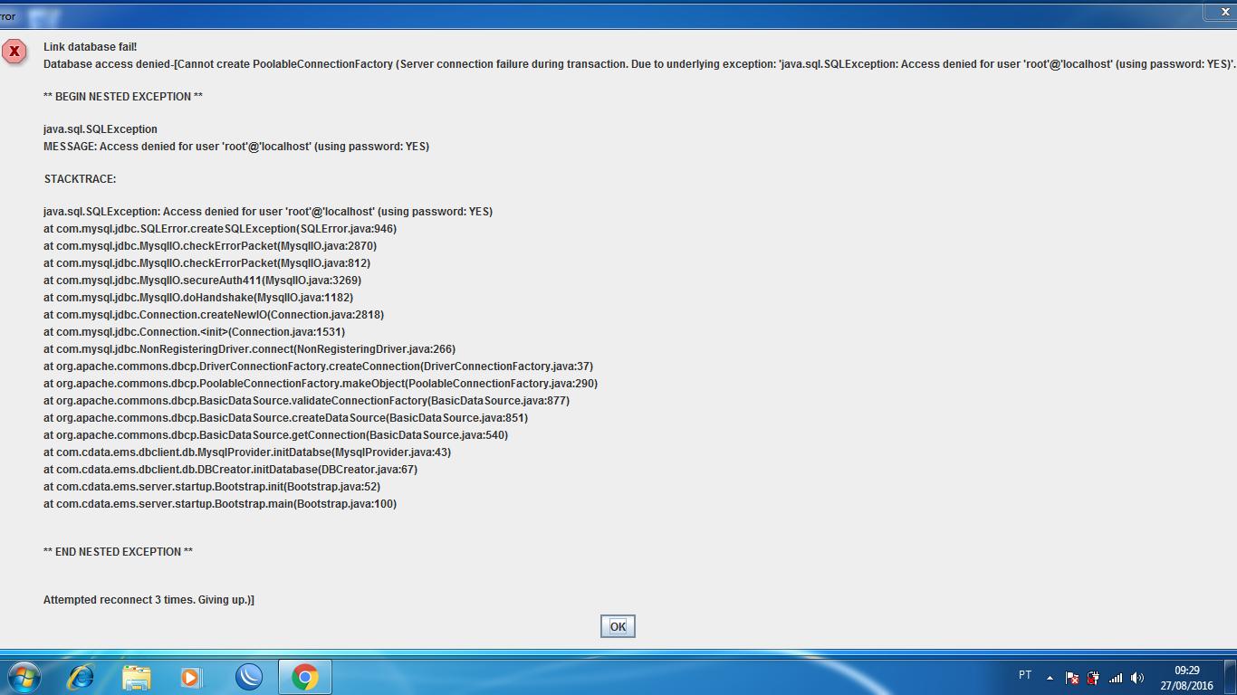 Clique na imagem para uma versão maior  Nome:         Mensagem de erro EMS server.png Visualizações:64 Tamanho: 162,9 KB ID:      64859