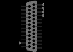 Clique na imagem para uma versão maior  Nome:         400px-25_Pin_D-sub_pinout.svg.png Visualizações:98 Tamanho: 27,4 KB ID:      65559
