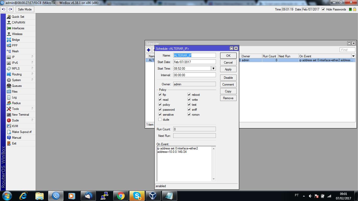 Clique na imagem para uma versão maior  Nome:         Winbox scheduler.png Visualizações:75 Tamanho: 148,0 KB ID:      66162
