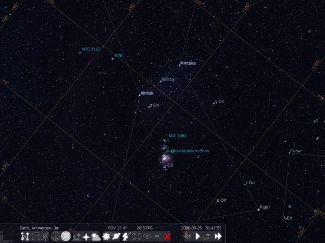 O Stellarium em a%u00E7%u00E3o mostrando algumas nebulosas pr%u00F3ximas a constela%u00E7%u00E3o de %u00D3rion.