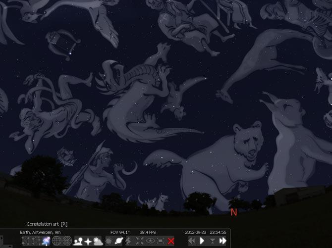 Arte ilustrada sobre as mais famosas constela%u00E7%u00F5es conhecidas, sendo todas apresentadas ao mesmo tempo pelo Stellarium.
