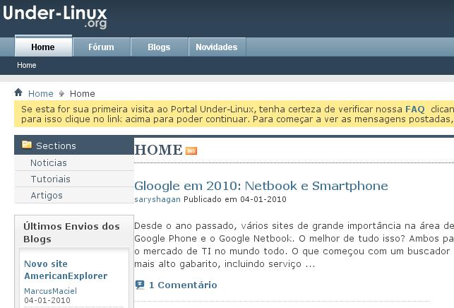 Caixa de texto amarela com informa%u00E7%u00F5es %u00FAteis para visitantes que ainda n%u00E3o possuam conta de usu%u00E1rio no Portal Under-Linux, mas desejem cri%u00E1-las.