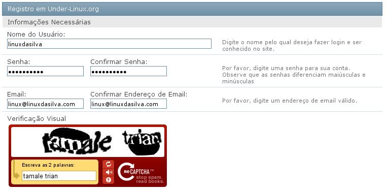 Campos de preenchimento obrigat%u00F3rio de nome de usu%u00E1rio, senha, e a confirma%u00E7%u00E3o via reCAPTCHA.
