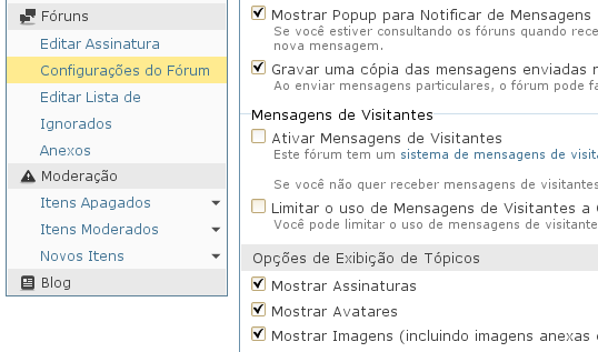 """Item de menu """"Configura%u00E7%u00F5esw do F%u00F3rum"""" d%u00E1 acesso ao usu%u00E1rio registrado para configurar as op%u00E7%u00F5es de recebimento de Newsletter do Under-Linux."""