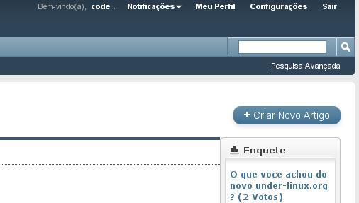 Menu Configura%u00E7%u00F5es que aparece quando o usu%u00E1rio est%u00E1 logado no Portal Under-Linux.
