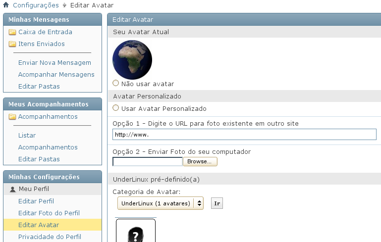 Criando seu avatar no Portal Under-Linux.